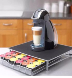 Подставка под кофе машину, с хранилищем капсул.