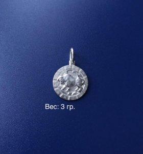 Кулончик серебряный: «Телец»