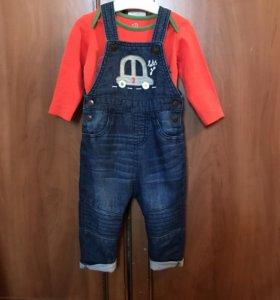 Комбинезон джинсовый mothercare+боди baby go