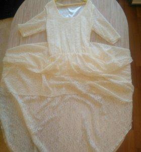 Платье для девочки, гипюр 44р, б.у 1 раз