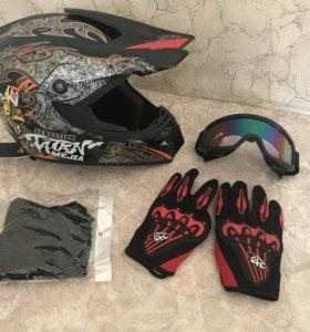 Мото Шлем+Перчатки+Очки+Балаклава