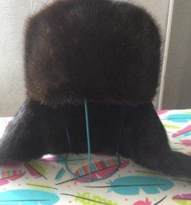 Норковая шапка ушанка мужская