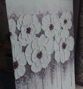 "Картина""Белые цветы"""