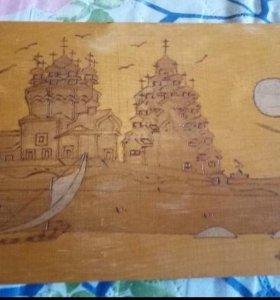 Деревянные Картинка крестиком.Двухсторонная