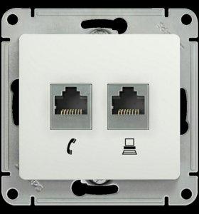 Glossa розетка телефон/компьютер белая (GSL000185)