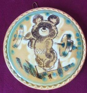 Антиквар.Настенная тарелка- олимпийский мишка