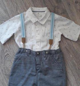 Рубашка+шорты H&M,р-р 92.