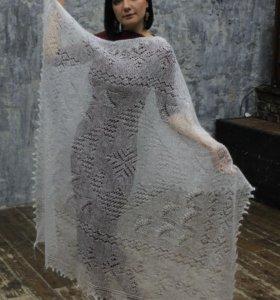 Оренбургский пуховый платок паутинка ландыши