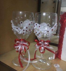 Винные бокалы, свадебные