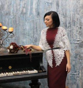Оренбургский пуховый платок косынка