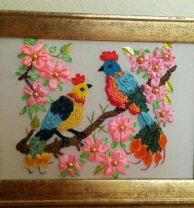 """Картина, вышитая лентами """"Райские птички"""""""