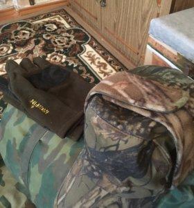 Тёплая шапка и спец.перчатки для зимней рыбалки