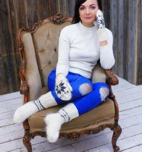 Пуховые варежки и носки из козьего пуха