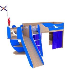 Кровать корабль для мальчика двухэтажная + матрас