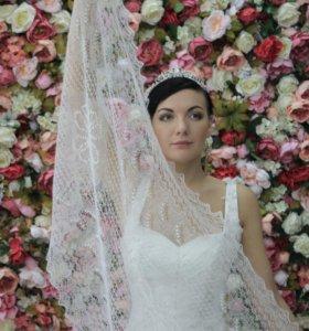 Свадебный Оренбургский пуховый палантин
