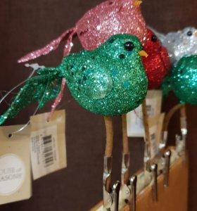 Новогодние украшения птички