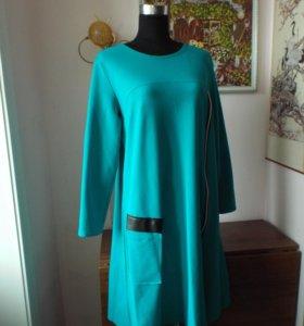 Бирюзовое платье с карманом и молнией