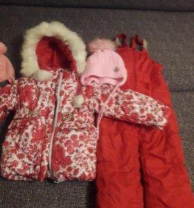 Куртка и штаны зима на 3-4 года цвет вишневый