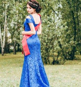 синее выпускное платье в пол