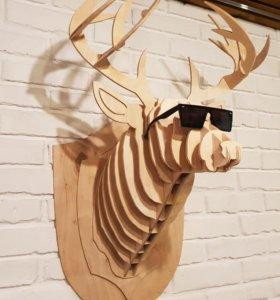 Декоративная голова оленя из фанеры