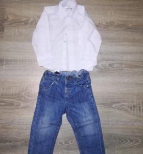 Рубашка новая, джинсы размер 80