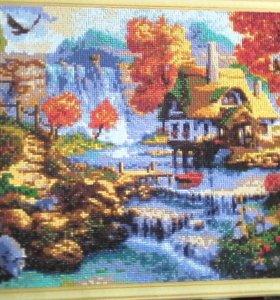Красивая картина дом у Водопада