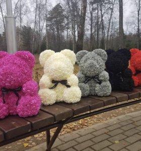 Мишки из роз 3D 40 см и 25 см