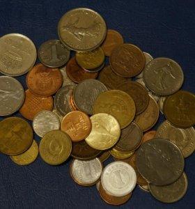 50 монет мира без повторов, нечастые и экзотика
