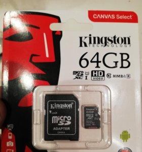Карта Памяти Kingston Micro SD 64GB Class 10/80MBs