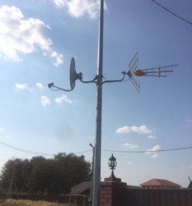 Установка спутникового и цифрового телевидения.