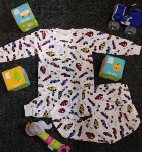 Новая теплая пижама с начесом для мальчика