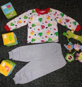 Новая хлопковая пижама для девочки