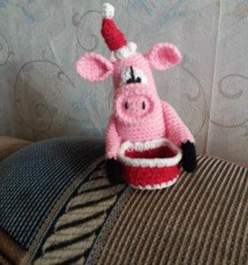 Новогодний свин и сердцекот