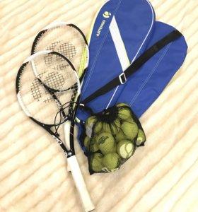 Ракетки теннисные с чехлами и мячами