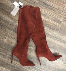 Новые кожаные ботфорты Зара