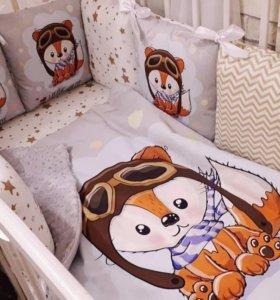 Бортики в кроватку, одеяло конверт балдахин