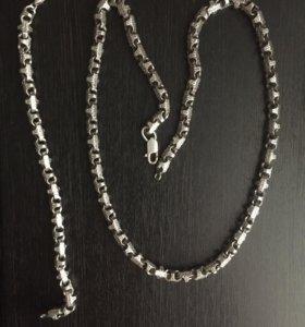 Цепь с браслетом серебряная