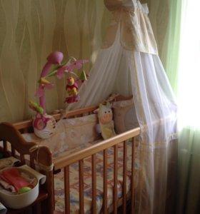 Комплект балдахин и бортики для детской кроватки