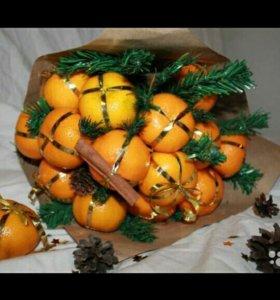 Новогодний подарок Букет из мандаринов