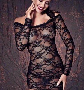 Сорочка женская кружевная черная с рукавами