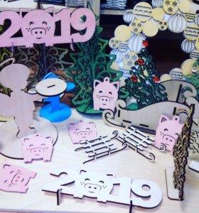 Ёлочные игрушки, Символ года, милые свинки.