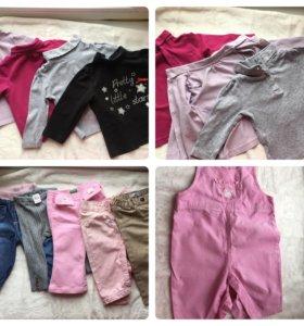 Вещи пакетом, штаны, кофты,плятья,футболки3-9мес.