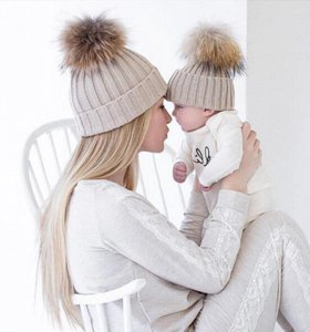 зимние шапочки мамочке и дочке