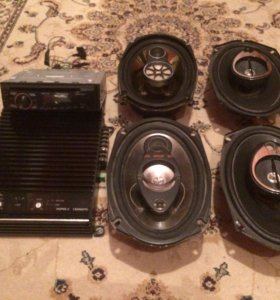 Усилитель, магнитофон и колонки