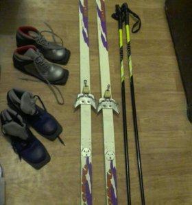 Лыжи палки и ботинки