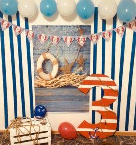 Фотозона для дня рождения в морском стиле