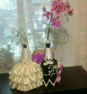 Свадебное украшение на бутылку шампанского