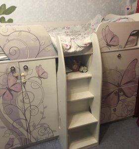 Кровать-чердак Леди-1+навесные полки