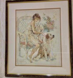 Коллекционная картина-вышивка»Девушка с собакой»