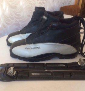Лыжные ботинки Ficher + крепление Salomon